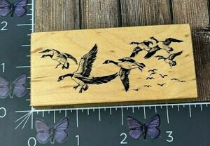 PSX Designs Flock Of Geese Birds Rubber Stamp 1995 F1564 Wood #AL140