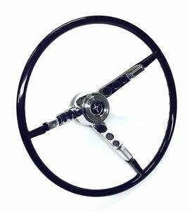 New! 1965 1966 Mustang Ford Licensed Black Steering Wheel, Horn Button Horn Ring