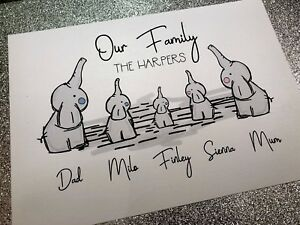 Personalised A4 Family Tree Print Elephant - Family Print Unique Gift