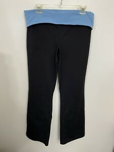 Lands End M Black Bootcut Yoga Pants Fold Waist Color Block MP
