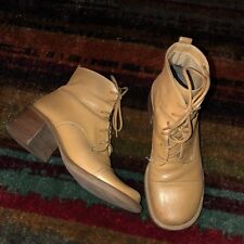 SIZE 7 - Vintage LIZ CLAIBORNE Camel Brown Square Toe Lace Up Ankle Boots