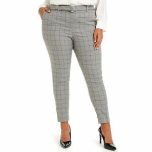 CALVIN KLEIN Women's Plus Size Belted Windowpane Print Slim Dress Pants TEDO