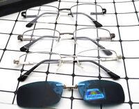 Polarized Magnet clip-on Sunglasses Half Rim Men Eyeglasses Frames Driving 2in1