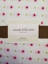 New Wendy Bellissimo Pink Flowers Fitted Crib Sheet
