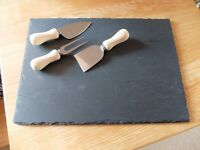 GRANITE CHEESE BOARD BY FLAME HOMEWARE WITH MED KNIFE SET