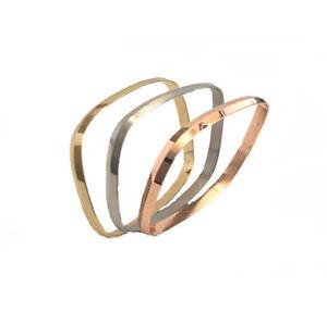 3pcs/Set Tri-Tone Stainless steel Bracelet Silver/Rose/Gold Plated Bangle Set