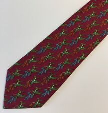 Salvatore Ferragamo Men's Silk Tie 3.5 x 60  Burgundy Green Blue Bird No Tag