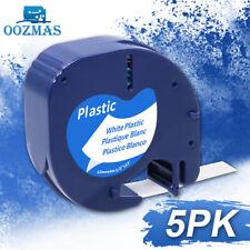 5PK 91331 White Plastic 12mm Label Tape Compatible Dymo LetraTag Refill LT-100H