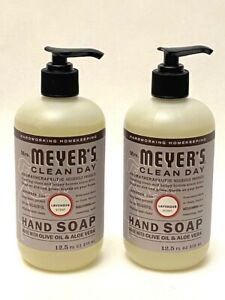 2 Mrs. Meyers Clean Day Liquid Hand Soap Lavender Scent Olive Aloe 12.5 oz Each