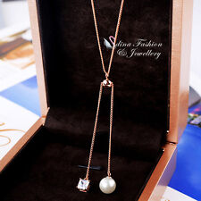 18K Rose Gold Plated Simulated Pearl & Diamond Stylish Lariat Necklace