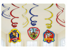 6 x Paw Patrol Childrens Birthday Hanging Swirl Decorations Puppy Party