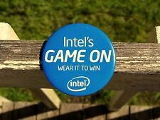 """Intel's Game On Wear It To Win 3 1/2"""" Blue Round Metal Pin Pinback Button Mexico"""