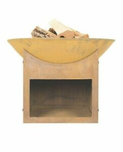 Fire Pit Bowl Cast iron & Oxidised with Modern Log Store - Outdoor Garden Heater