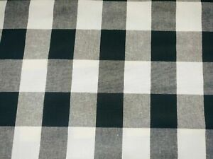 """Black and White Gingham Cotton Fabric Checkered Fabric - Width 143cm/56"""""""