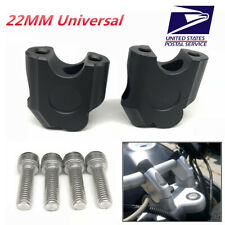 "2Pcs CNC Motorcycle 7/8"" 22mm Handlebar Riser Kit Universal Raise Clamp US Ship"