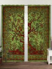 Tree Of Life Wall Hanging Door Window Curtain Drape Valance Green Color Indian