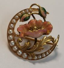 Antique 1917 Ladies Pearl Enamel Flower Pin 14k Yellow Gold 7/8""