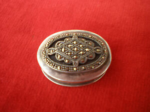 Vintage Antique Style Solid Silver Round Marcasite Pill / Trinket Box