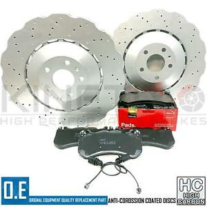 FOR AUDI RS6 C7 FRONT DRILLED WAVED BRAKE DISCS APEC PADS WEAR SENSORS 390mm