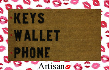 Stencilled Coir Internal Door Mat 70x40cm Key Wallet Phone By ARTISAN KISS