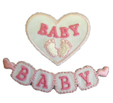 Baby Blocks pink girl motif iron on or sew on  patch appliqué embroidery
