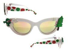 White Cat Eye Christmas Sunglasses with Snowman, Snowflakes, Tree, Polka Dots