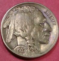 1937 P Philadelphia Mint Buffalo Nickel FullHorn#39
