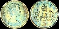 1968 GREAT BRITAIN 5 NEW PENCE COLOR TONED COIN IN HIGH GRADE !!!