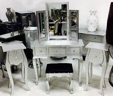 EMBOSSED SILVER METAL DRESSING TABLE SET FURNITURE + STOOL + 2 BEDSIDES