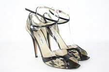 Jimmy Choo Elaphe Snake/Patent High Heel Strappy Sandals Peep Toe UK 8 EUR 41