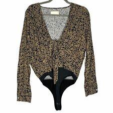 NEW Capulet Daria Bodysuit Heirloom Floral Tie Front Long Sleeve Revolve Size M