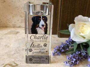 Large Photo Personalised Pet Memorial Tealight Candle Holder - Cat Dog Goodbye