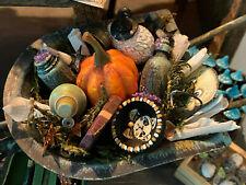 Vintage Miniature Dollhouse Artisan Halloween Spooky Autumn Wheelbarrow Diorama