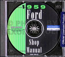 1959 Ford Riparazione Auto Negozio Manuale CD Galaxie Fairlane Ranchero
