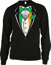 Irish 3 Leaf Clover Tux Tuxedo Formal Classy Snazzy Fancy Long Sleeve Thermal