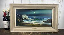 "Vintage VAL McGANN Oil Painting O/B ""Moonlit Surf,Maine"" Framed Listed Artist"