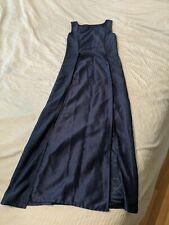 Faballey Trendy Bollywood Navy Blue Silk Long Kurta Boat Neck Small
