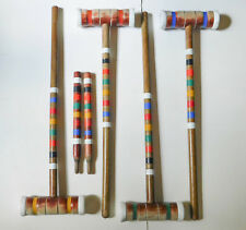 New listing 4 Vintage Wood Croquet Mallets 2 Stakes Stripes