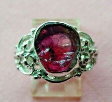 Rough Rubylite Tourmaline 9x7mm Handcrafted Sterling Silver 925 Ring skaisMAY18