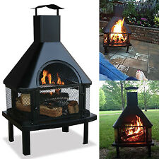 Outdoor Fire Pit Wood Burning Patio Firehouse Chimney Heater Fireplace  Backyard