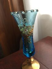 Rare Vintage Murano Art Glass Iridescent Blue With Hand Painted Flowers & Gold