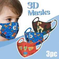 3PCS Kids Breathable Cotton Washable Reusable PM2.5 Face Mask Mouth Protection