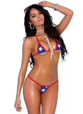 Women Bikini Swimsuit American Flag USA Super Strappy Top G String Bottoms Set