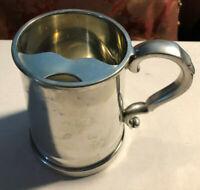 VINTAGE ENGLISH PEWTER GLASS BOTTOM TANKARD/STEIN MADE IN England