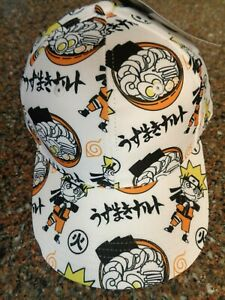 Naruto Shippuden Collection Ramen Pattern Snapback Hat OSFM Adjustable New Cap