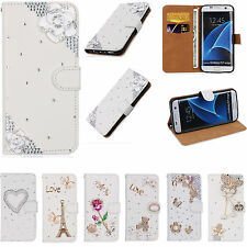 For iPhone Nokia Bling Crystal Rhinestone Diamond Wallet Leather Case Cover TY