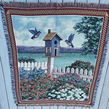 American Weavers Birdhouse Tapestry Sofa Throw Blanket Fringed Vintage 90s