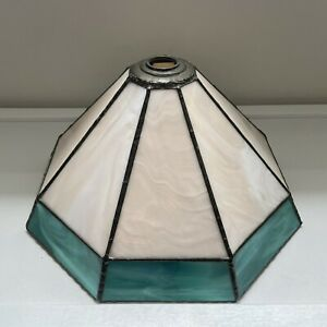Vintage Tiffany Style Stained Glass Pale Pink / Green Ceiling Light Shade