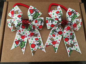 Christmas Grinch - hair bow bobbles (2) HANDMADE girls hair accessories