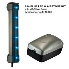 "6"" BLUE LED & AIRSTONE KIT with MA-80 Air Pump for Aquarium up to 15 Gal"